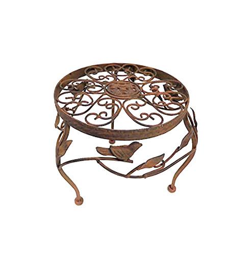 Metall Blumenhocker Blumenständer Beistelltisch Hocker Metallhocker Metall braun rund WK070808 Groß