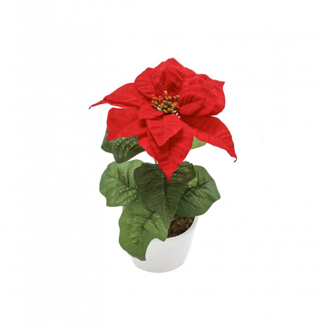 Weihnachtsstern Rot im Topf Künstlich – 1 Blüte - Kunstblumen Weihnachtsblume Kunstpflanzen Weihnachten Weihnachts Deko Dekoblumen - Rot 1 Blüte