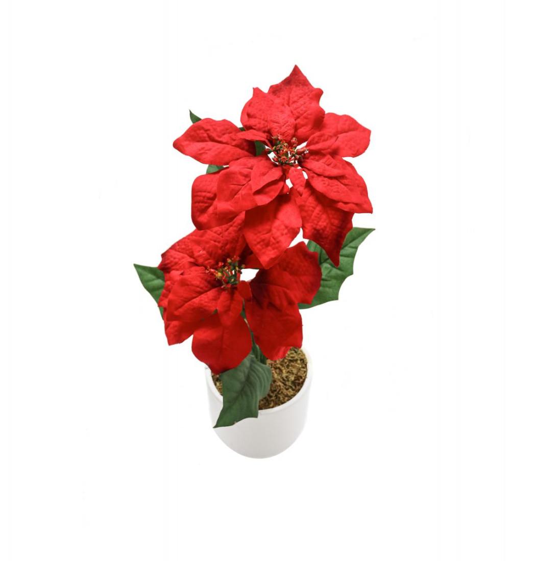 Weihnachtsstern Rot im Topf Künstlich – 2 Blüten - Kunstblumen Weihnachtsblume Kunstpflanzen Weihnachten Weihnachts Deko Dekoblumen - Rot 2 Blüten