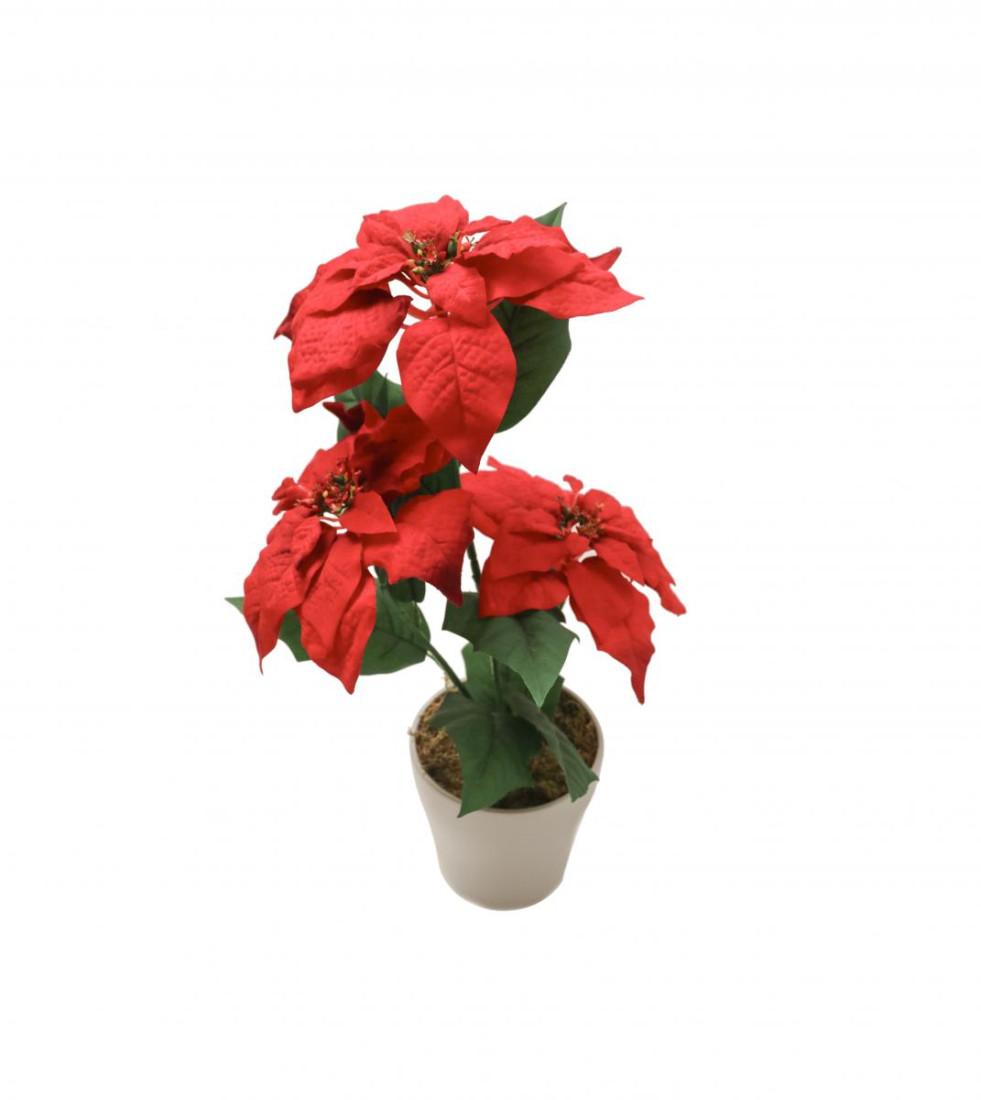 Weihnachtsstern Rot im Topf Künstlich – 3 Blüten - Kunstblumen Weihnachtsblume Kunstpflanzen Weihnachten Weihnachts Deko Dekoblumen - Rot 3 Blüten