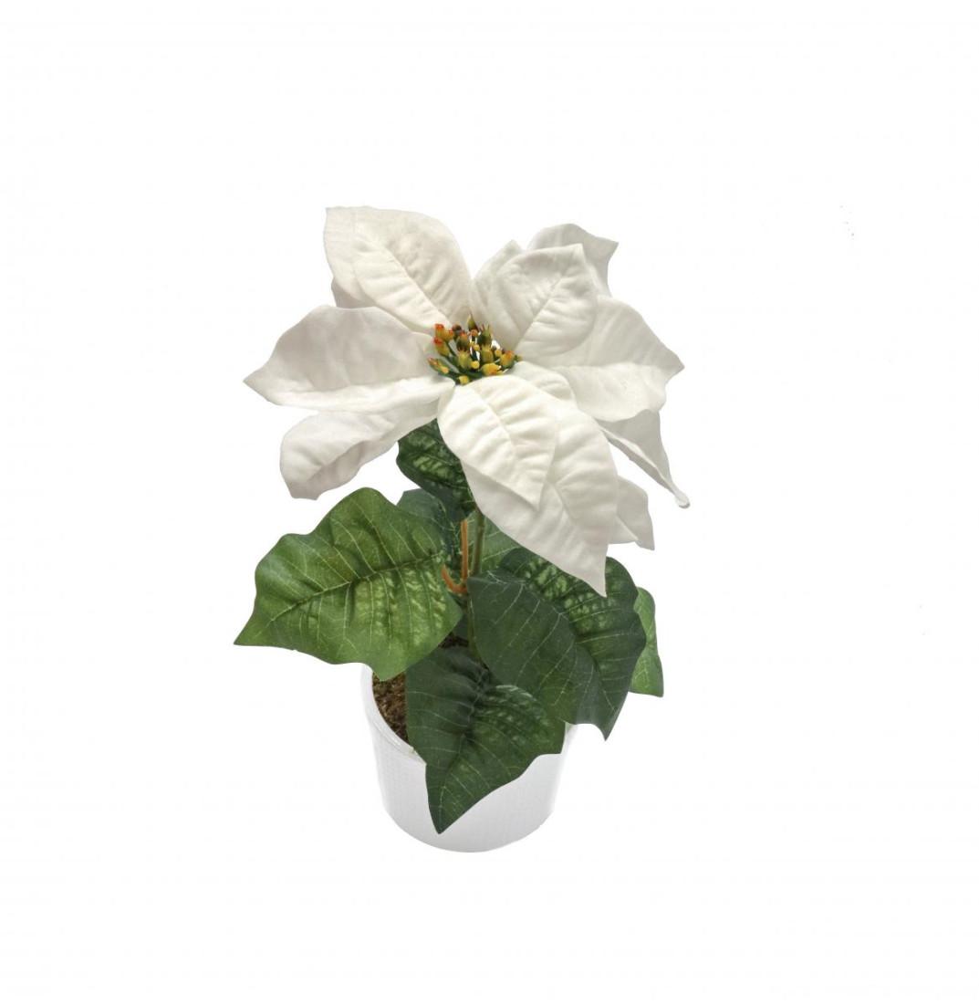 Weihnachtsstern Weiß im Topf Künstlich – 1 Blüte - Kunstblumen Weihnachtsblume Kunstpflanzen Weihnachten Weihnachts Deko Dekoblumen - Weiß 1 Blüte