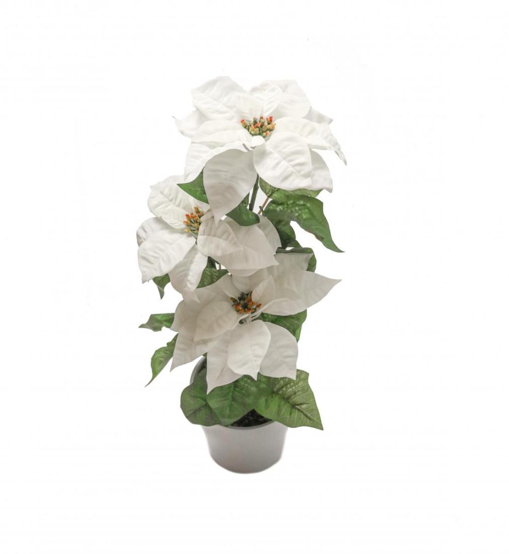 Weihnachtsstern Weiß im Topf Künstlich – 3 Blüten - Kunstblumen Weihnachtsblume Kunstpflanzen Weihnachten Weihnachts Deko Dekoblumen - Weiß 3 Blüten