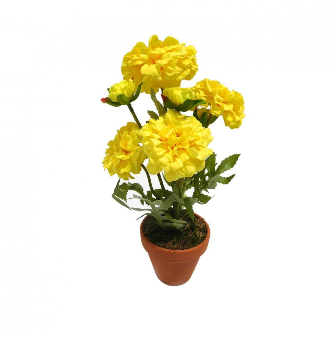 Zinnie Zinnia Kunstpflanze Kunstblume künstlich 30 cm gelb N-20473-2 im Topf F68