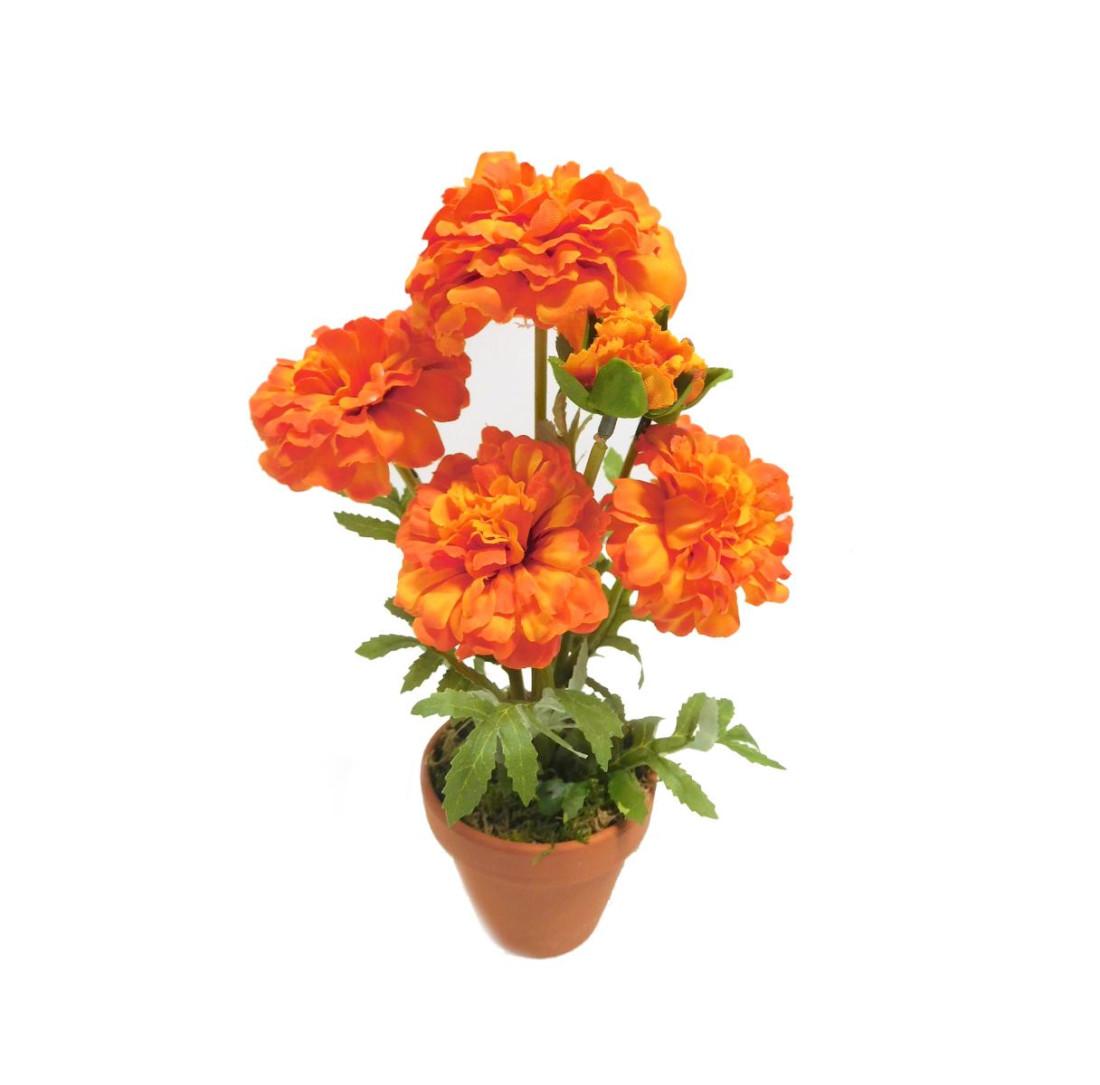 Zinnie Zinnia Kunstpflanze Kunstblume künstlich 30 cm orange N-20473-5 Topf F68