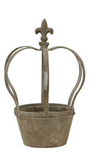 Krone Dekokrone Blumentopf Übertopf Pflanztopf Shabby Landhaus Vintage Gartendeko Garten Deko Dekoration Metall braun grau (klein 231984) F17
