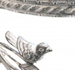 Blumenhocker Blumenständer Beistelltisch Hocker Metallhocker Metall Shabby Vögel rund WK070808 grau (klein)