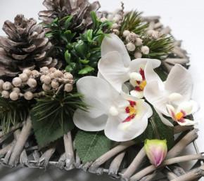 Rattanherz Rosengesteck Rosenherz Tischgesteck Grabgesteck Herz Weiß Orchideen Rattanherz (11)